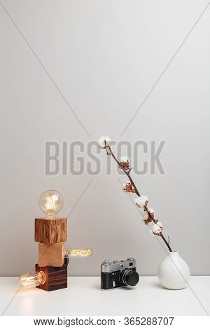 An Old-fashioned Lamps, Antique Camera And A White Vase With Dry Cotton Flower. This Is A Calm And P
