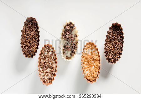 Wariable Chocolate Pralines Isolated On White Background