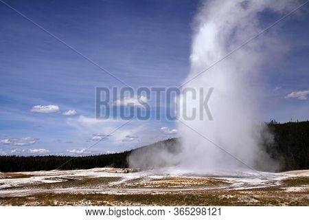 Eruption Of The Old Faithful Geyser In Yellowstone