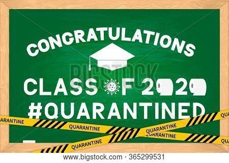 Class Of 2020 Funny Poster With Toilet Paper And Graduation Cap On Green Chalkboard With Wooden Fram