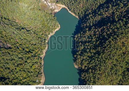 Mounains Lagoon Embalse Bullileo En Region Maule, Chile. Aerial Drone View