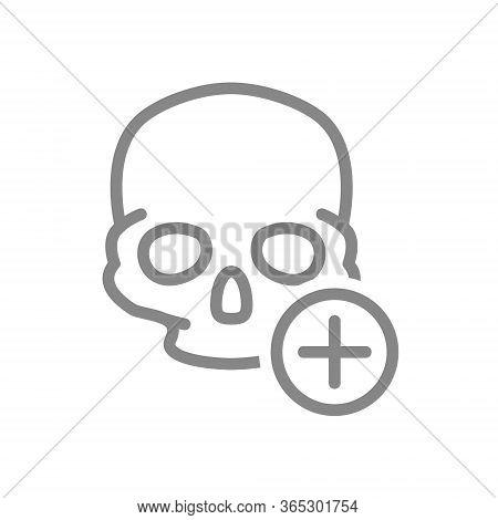 Skull With Plus Line Icon. Bone Structure Of The Head, Cranium Symbol