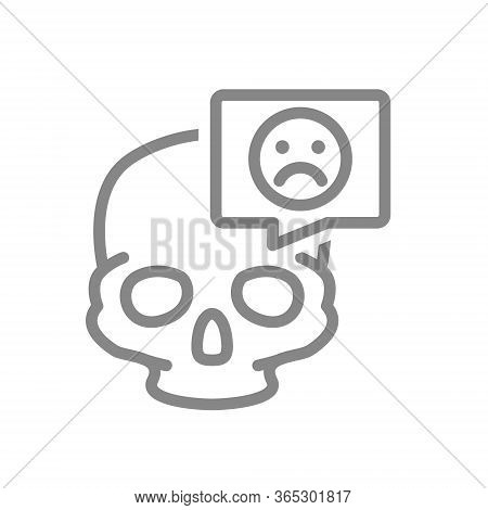 Skull With Sad Face In Speech Bubble Line Icon. Bone Structure Of The Head, Cranium Symbol