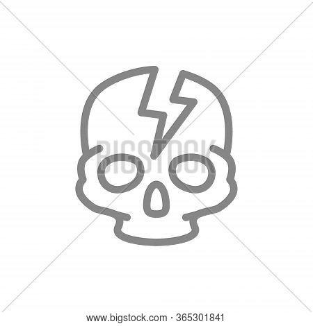 Skull With Acute Pain Line Icon. Broken Cranium, Bone Structure Of The Head Symbol