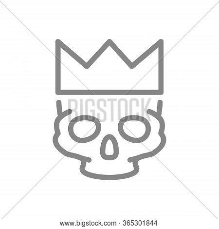 Human Skull With Crown Line Icon. Tattoo Sketch, Cranium Symbol