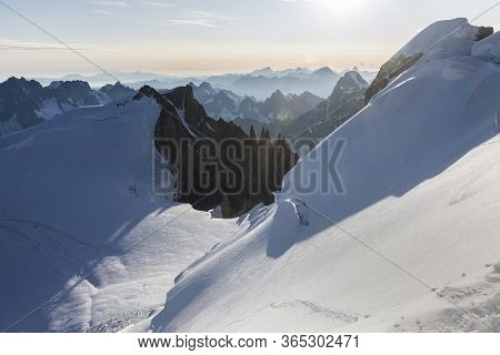Roks And Stones Of Mont-blanc Du Tacul View From Mont Maudit In The French Alps, Chamonix-mont-blanc