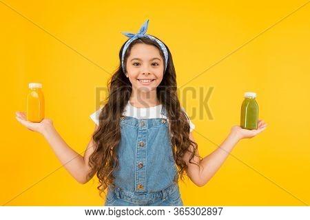 Vitamin Juice. Berries In My Bottle. Fruit Energy. Smiling Kid Hold Smoothie Bottles. Healthy Food.