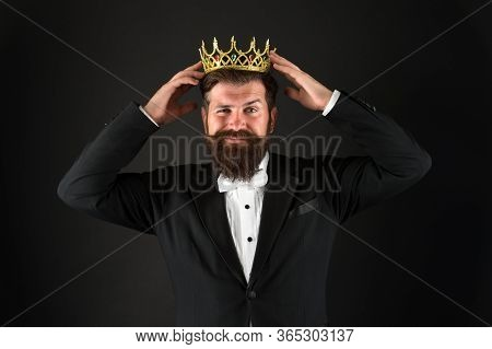 Royal Duty Suggests. Handsome King. Man Representing Power And Triumph. Business King. Businessman W