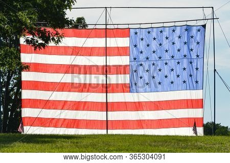 Huge United States flag erected in Constitutional Garden Park in Washington DC during Memorial day weekend - Washington DC USA