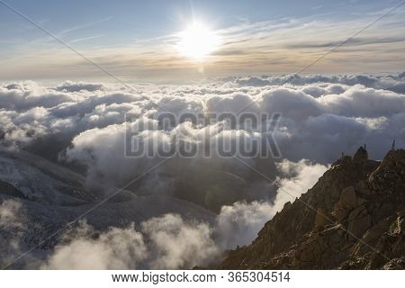 Dramatic Sunset Sky Over The Rogues Alps. View From The Cosmique Refuge, Chamonix, France. Perfect M