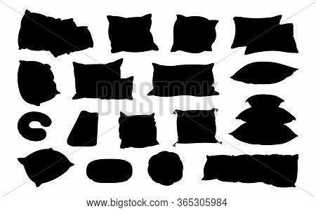 Different Shape Pillow Black Flat Silhouette Set. Home Interior Textile. Sofa Bed Sleep Pillows Glyp
