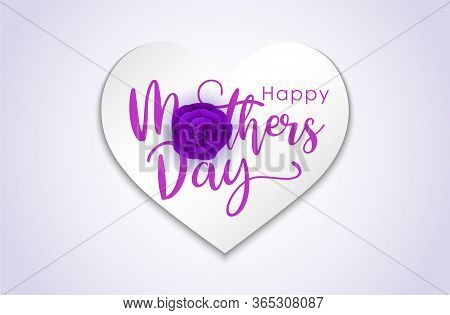 Happy Mother's Day Calligraphy With Beautiful Blossom Flowers. Creative Concept Design Happy Mother'