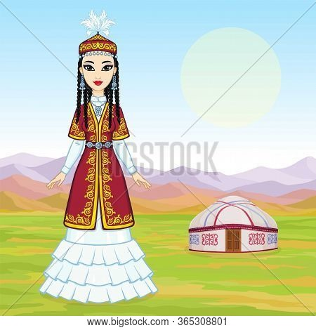Asian Beauty. Animation Portrait Of A Beautiful Girl In Ancient National Cap And Jewelry. Full Growt