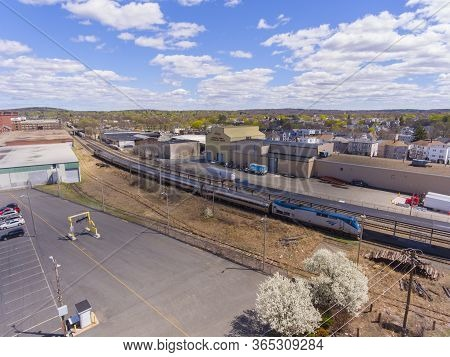 Lawrence, Ma, Usa - Apr. 24, 2019: Aerial View Of Amtrak Downeaster Line Between Boston Massachusett