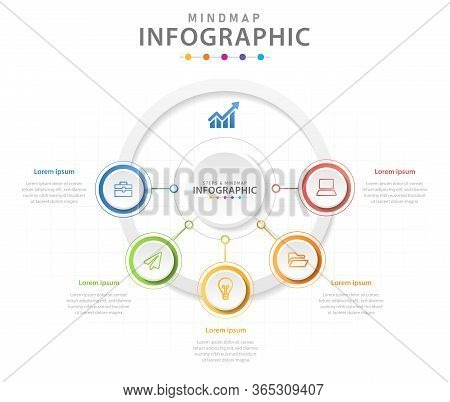 Infographic Template For Business. 5 Steps Modern Mindmap Diagram With Circles, Presentation Vector