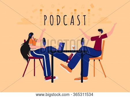 People Recording Podcast In Studio Flat Vector Illustration. Radio Host Interviewing Guests On Radio