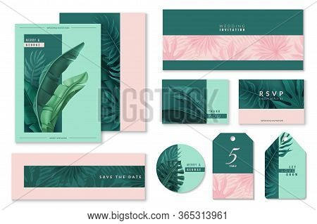 Tropical Leaves Wedding Banners. Tropical Leaves Set Of Wedding Cards. Invitations To The Celebratio