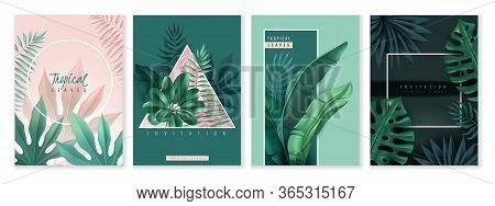 Tropical Leaves Cards. Set Of Vertical Invitation Cards. Tropical Leaves, Geometric Frames. Blue And