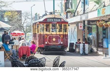 Christchurch, New Zealand -october-02-2017 : Christchurch Heritage Tram Runs On Tramway Tracks In Ne