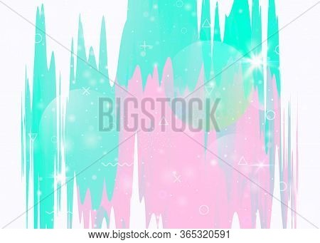 Universe Landscape With Holographic Cosmos And Abstract Future Background. 3d Fluid. Trendy Mountain