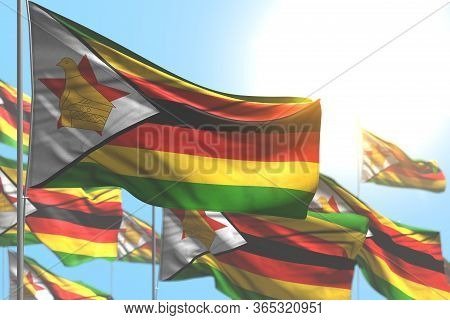 Cute Many Zimbabwe Flags Are Wave Against Blue Sky Picture With Selective Focus - Any Occasion Flag