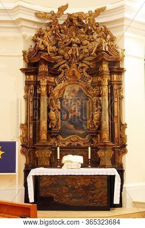 ZAGREB, CROATIA - NOVEMBER 12, 2012: Our Lady's Altar in Franciscan church of St. Francis Xavier in Zagreb, Croatia