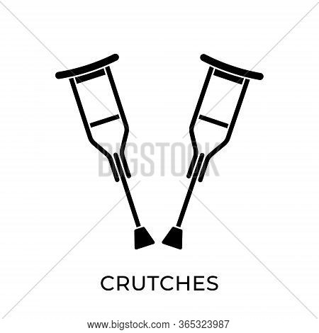 Crutches. Crutches icon. Crutches vector. Crutches icon vector. Crutches illustration. Crutches logo template. Crutches icon design. Medical Crutches icon vector. Crutches vector icon flat design for web icons, logo, sign, symbol, app, UI.
