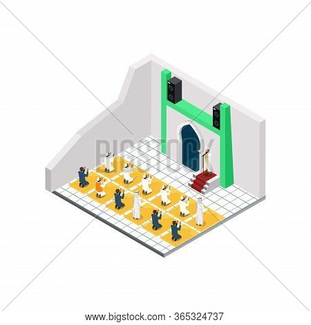 Isometric Illustration Muslim Man Prays Flat Vector, Suitable For Diagrams, Infographics, Game Asset