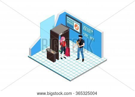 Isometric Illustration Body Temperature Checking For Corona Virus Detection Or Covid-19, Suitable Fo