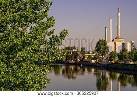 Stuttgart,germany - April 23,2020:talstrasse This Is The View From The Bridge To A Big Power Plant O
