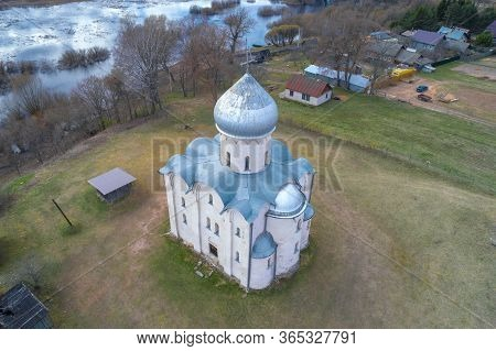 Above The Ancient Church Of The Transfiguration Of Our Savior On Nereditsa On A Spring Day. Veliky N