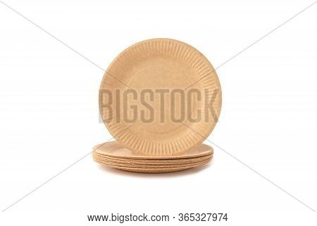 Unbleached Paper Disposable Plates Isolated On White, Eco Friendly Table Accessories, Zero Waste Con