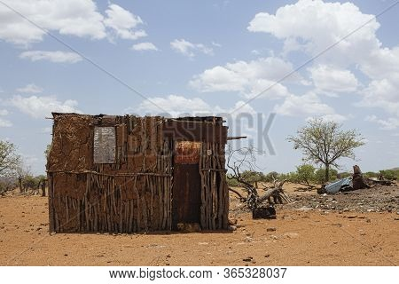 Typical Native Shack In Dry Desert Lanscape, Namibia, Africa