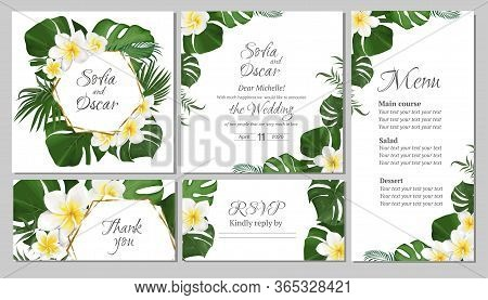 Floral Tropical Design For Your Holiday. White Frangipani Flowers, Tropical Leaves, Palm Trees, Mons