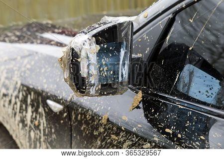 Broken Mirror Of A Dirty Vehicle, Outdoor Close-up Shot