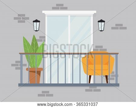 Bright Comfortable Cozy Balcony Interior In Gray Pastel Colors On A Gray Background Of Peoples Troub
