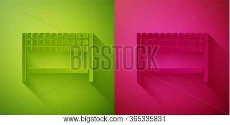 Paper Cut Ribbon In Finishing Line Icon Isolated On Green And Pink Background. Symbol Of Finish Line