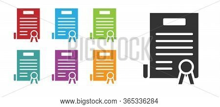 Black Declaration Of Independence Icon Isolated On White Background. Set Icons Colorful. Vector Illu