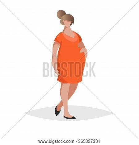 Pregnant Woman Wearing Red Or Orange Dress. Flat Trendy Design Style. Maternity Icon. Social Network