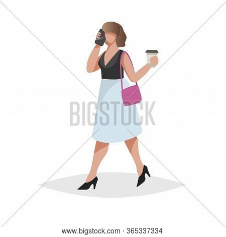 Happy Young Woman With Brown Hair Talking Smartphone And Taking Coffee-to-go. Flat Modern Trendy Des