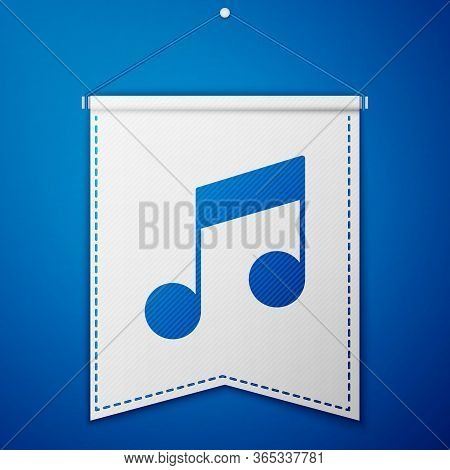 Blue Music Note, Tone Icon Isolated On Blue Background. White Pennant Template. Vector Illustration