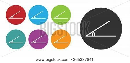 Black Acute Angle Of 45 Degrees Icon Isolated On White Background. Set Icons Colorful. Vector Illust