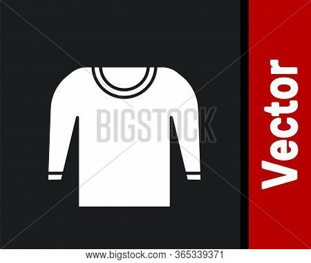 White Sweater Icon Isolated On Black Background. Pullover Icon. Vector Illustration