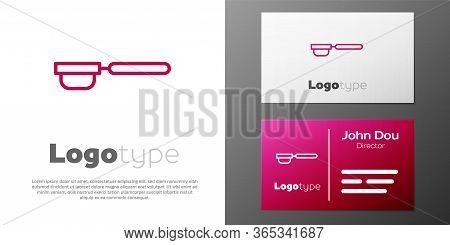 Logotype Line Coffee Filter Holder Icon Isolated On White Background. Logo Design Template Element.