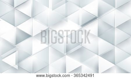 Abstract White Polygonal Triangle Geometric 3d Texture. Black And White Colorful Gradient Mosaic Bac