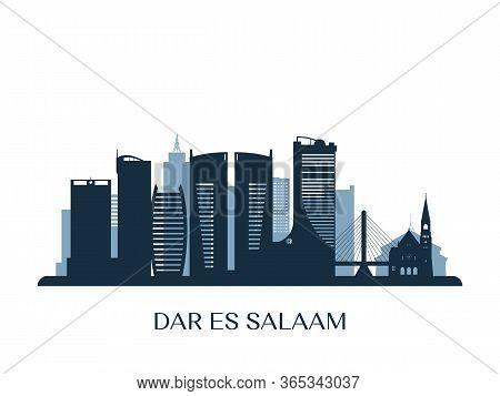 Dar Es Salaam Skyline, Monochrome Silhouette. Vector Illustration.