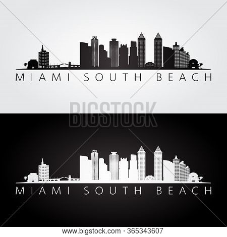 Miami South Beach, Florida Skyline And Landmarks Silhouette, Black And White Design, Vector Illustra