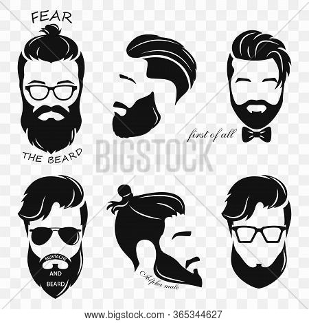 Set Of Different Silhouettes Of Bearded Hipsters. Bearded Men, Avatar, Hipster With Different Haircu