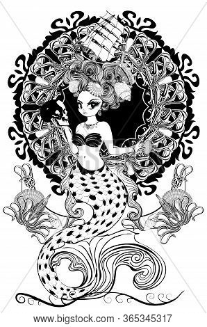 Stylized Mermaid With Rococo Hairstyle And Art Nouveau Frame, Retro Background.