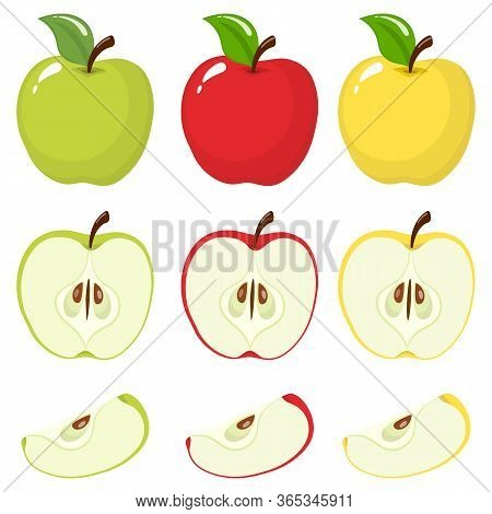 Set Of Fresh Whole, Half, Cut Slice And Leaves Colored Apple Fruit Isolated On White Background. Sum